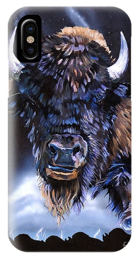 Buffalo IPhone X Case featuring the painting Buffalo Medicine by J W Baker