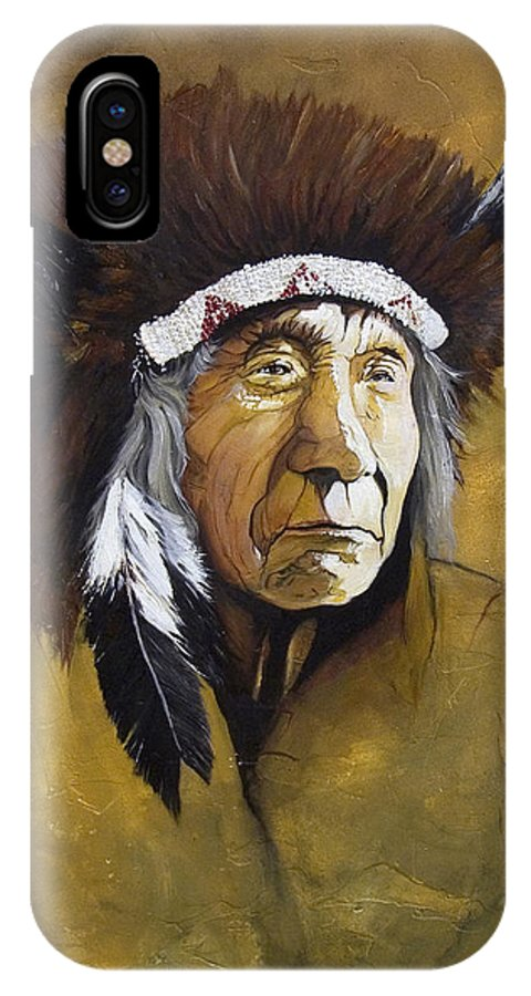 Shaman IPhone X Case featuring the painting Buffalo Shaman by J W Baker