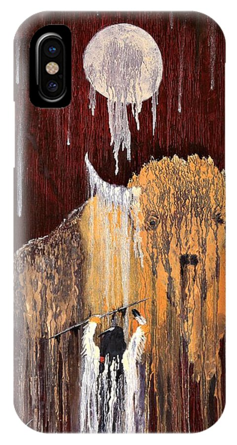 Native Art IPhone X Case featuring the painting Buffalo Spirit by Patrick Trotter