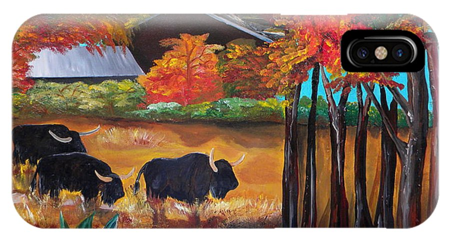 Buffalo IPhone X Case featuring the painting Buffalos In Lost Maples by Patti Schermerhorn