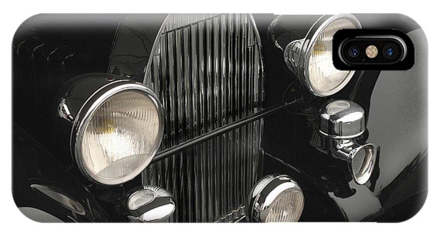 Bugatti IPhone X Case featuring the photograph Bugatti Type 57 In Black by Curt Johnson
