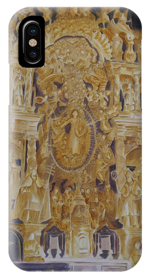 Saints IPhone X Case featuring the painting Builders' Guild by Nik Helbig