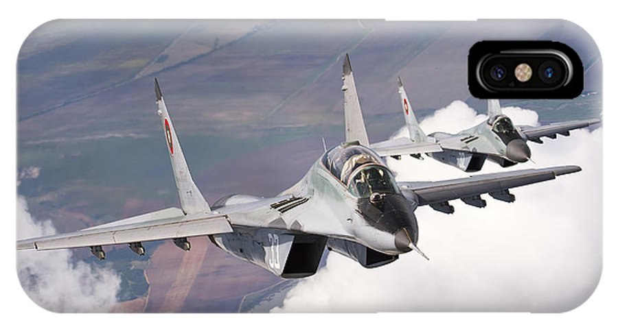 Horizontal IPhone X Case featuring the photograph Bulgarian And Polish Air Force Mig-29s by Daniele Faccioli