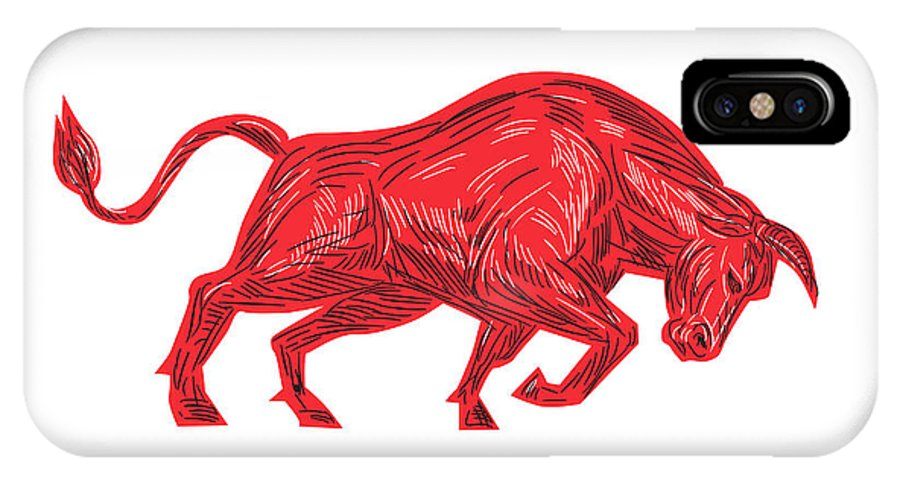 Drawing IPhone X Case featuring the digital art Bull Charging Drawing by Aloysius Patrimonio