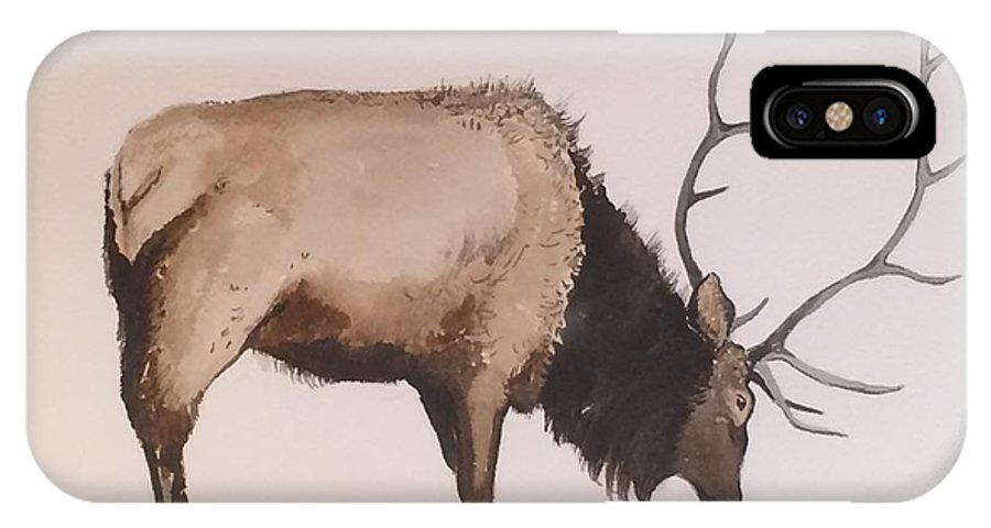 Western Wildlife IPhone X Case featuring the painting Bull Elk by Robert Fugate