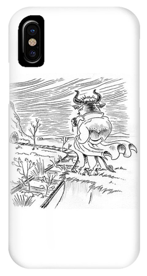 Bull IPhone X / XS Case featuring the drawing Bull by Ersin Ipek
