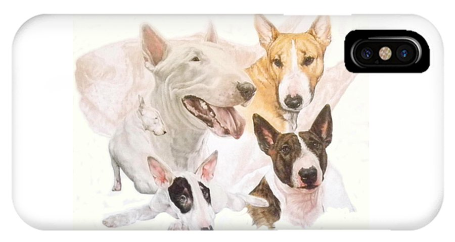Purebred IPhone Case featuring the mixed media Bull Terrier W/ghost by Barbara Keith