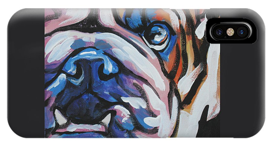 Bulldog IPhone X Case featuring the painting Bulldog Baby by Lea S