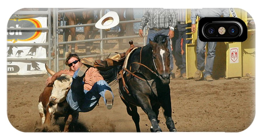 Cowboy IPhone Case featuring the photograph Bulldogging At The Rodeo by Christine Till
