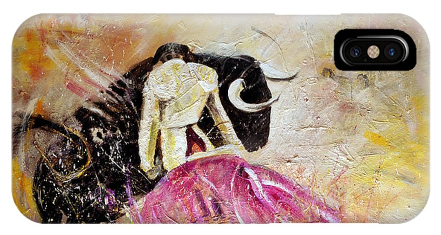 Animals IPhone X Case featuring the painting Bullfight 74 by Miki De Goodaboom