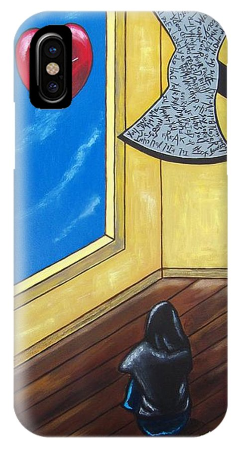 Violence IPhone X Case featuring the painting Bully by Sandra Marie Adams