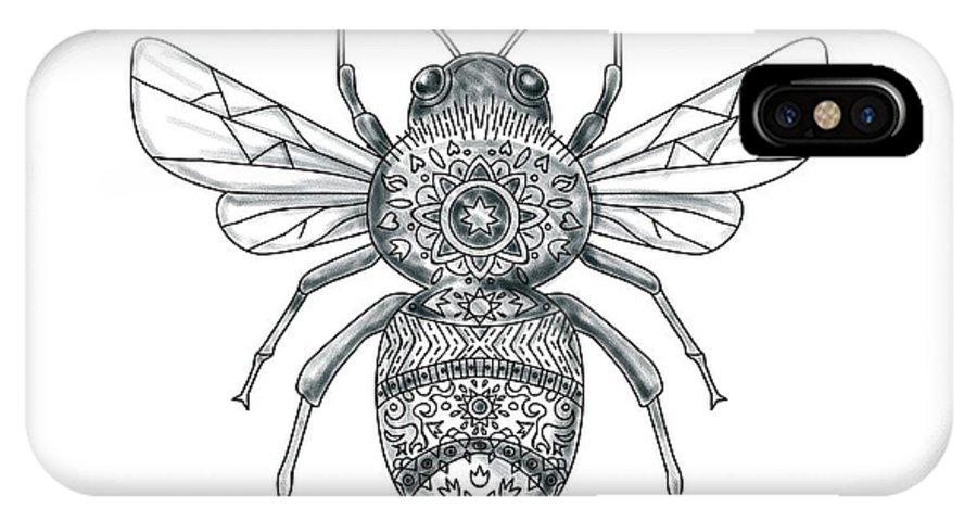 c5bc1e038627e Tattoo IPhone X Case featuring the digital art Bumble Bee Mandala Tattoo by Aloysius  Patrimonio