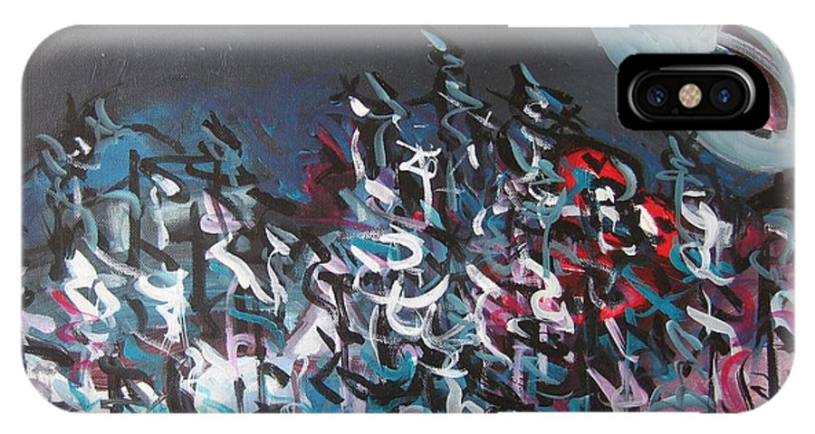 Abstract Paintings IPhone X Case featuring the painting Bummer Flat7 by Seon-Jeong Kim
