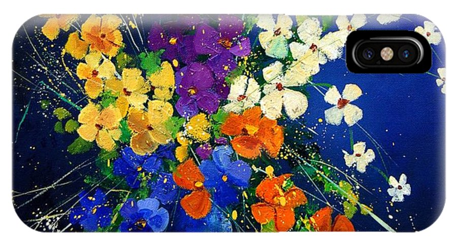 Poppies IPhone X Case featuring the print Bunch 0408 by Pol Ledent