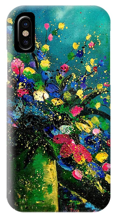 Flowers IPhone X Case featuring the painting Bunch 0807 by Pol Ledent