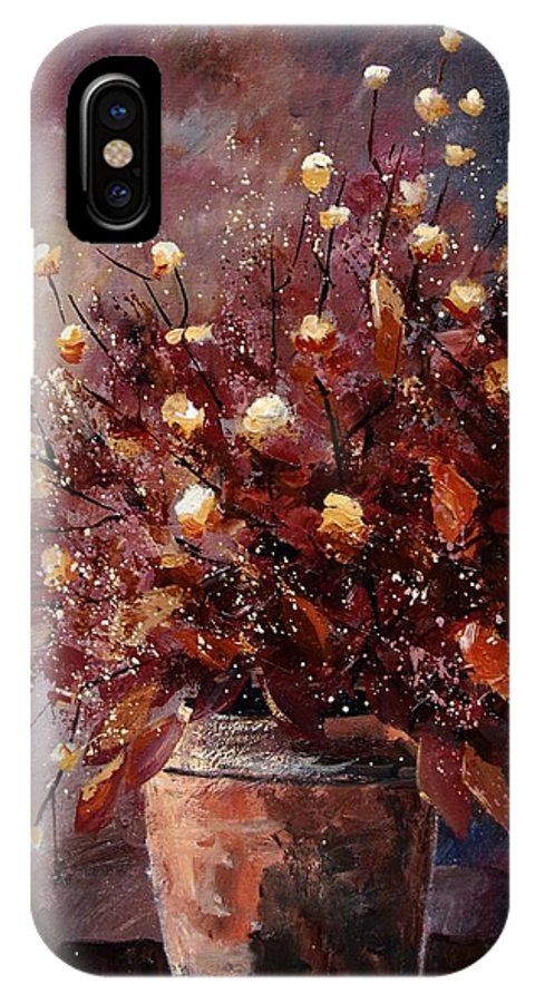 Poppies IPhone X Case featuring the painting Bunch 56 by Pol Ledent