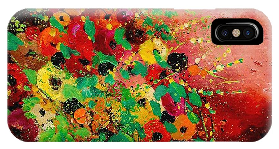 Flowers IPhone X Case featuring the painting Bunch Of Flowers 0507 by Pol Ledent