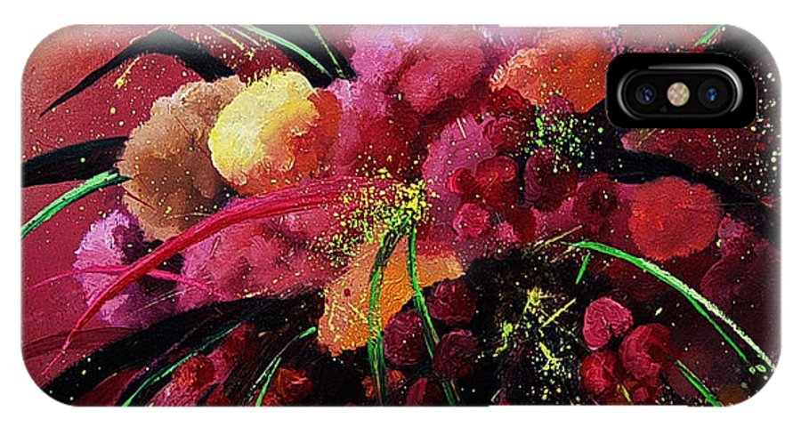 Flowers IPhone X / XS Case featuring the painting Bunch Of Red Flowers by Pol Ledent