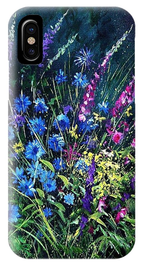 Poppies IPhone X Case featuring the painting Bunch Of Wild Flowers by Pol Ledent