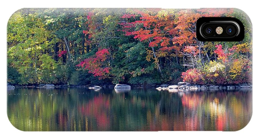 Lynne Miller IPhone X Case featuring the photograph Bunganut Lake Maine Foliage 13 2016 by Lynne Miller