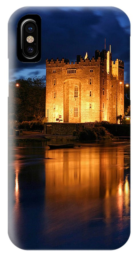 Bunraty Castle IPhone X Case featuring the photograph Bunraty Blues Castle Ireland At Night by Pierre Leclerc Photography