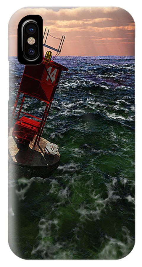 3d IPhone X Case featuring the painting Buoy 14 by Williem McWhorter