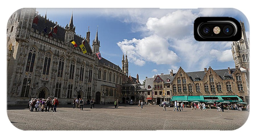 Burg Square IPhone X Case featuring the photograph Burg Square In Bruges Belgium by Louise Heusinkveld