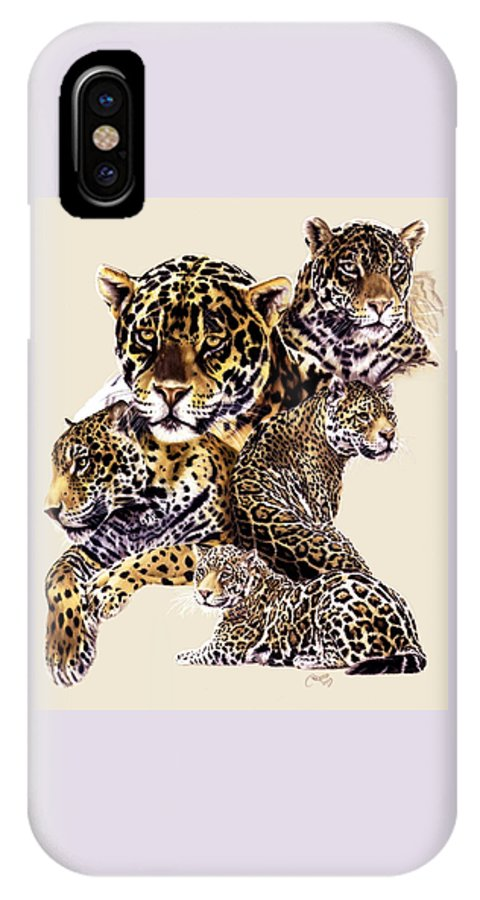 Jaguar IPhone X Case featuring the drawing Burn by Barbara Keith