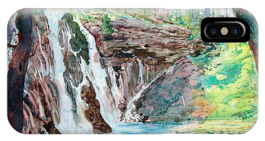 Watercolor IPhone X Case featuring the painting Burney Falls by John Norman Stewart