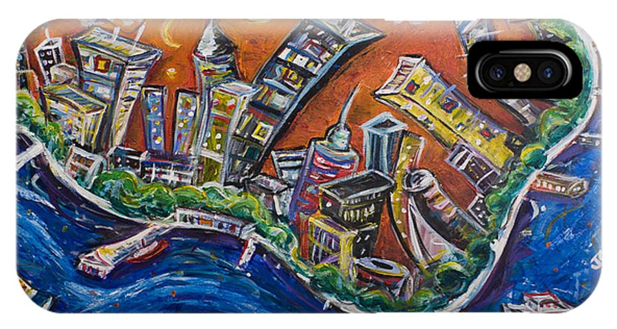 New York City Manhattan Hudson River IPhone X Case featuring the painting Burning City by Jason Gluskin