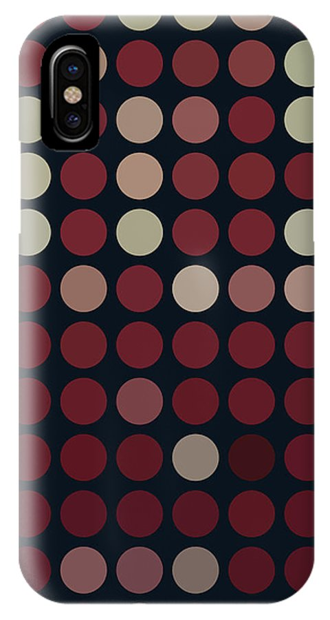 Geometric IPhone X Case featuring the digital art Burnt Dots by Monica Kay