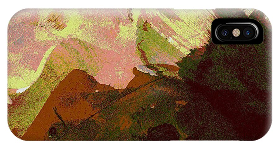 Mounains. Burnt Sienna Mountains IPhone X Case featuring the painting Burnt Sienna Mountains by Melody Horton Karandjeff