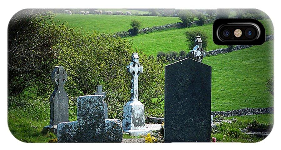 Irish IPhone X Case featuring the photograph Burren Crosses County Clare Ireland by Teresa Mucha