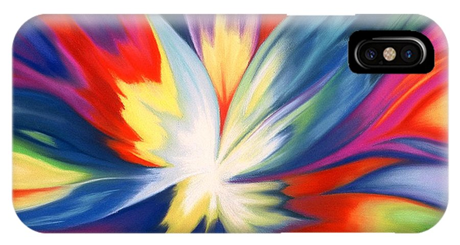 Abstract IPhone X Case featuring the painting Burst Of Joy by Lucy Arnold
