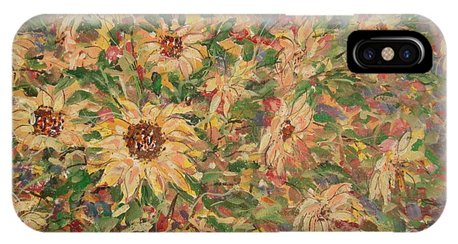 Flowers IPhone X Case featuring the painting Burst Of Sunflowers. by Leonard Holland