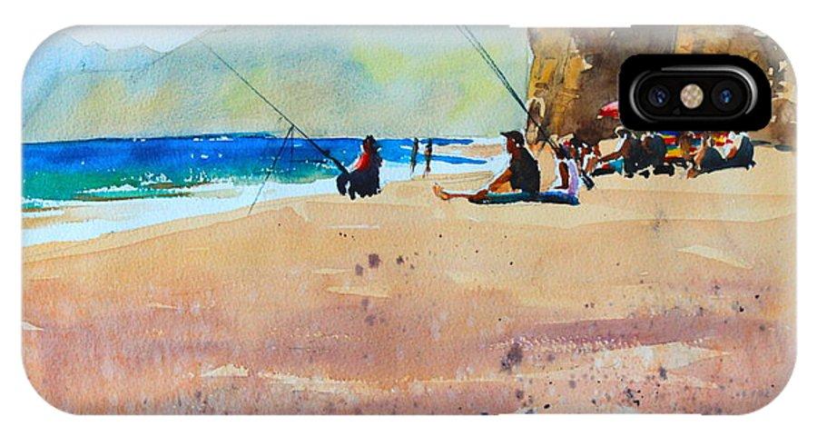 Burton Bradstock IPhone X Case featuring the painting Burton Bradstock Beach by Ibolya Taligas