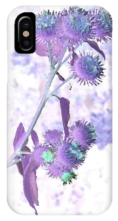 Plant IPhone X Case featuring the digital art Bush Of Burdock by Dr Loifer Vladimir