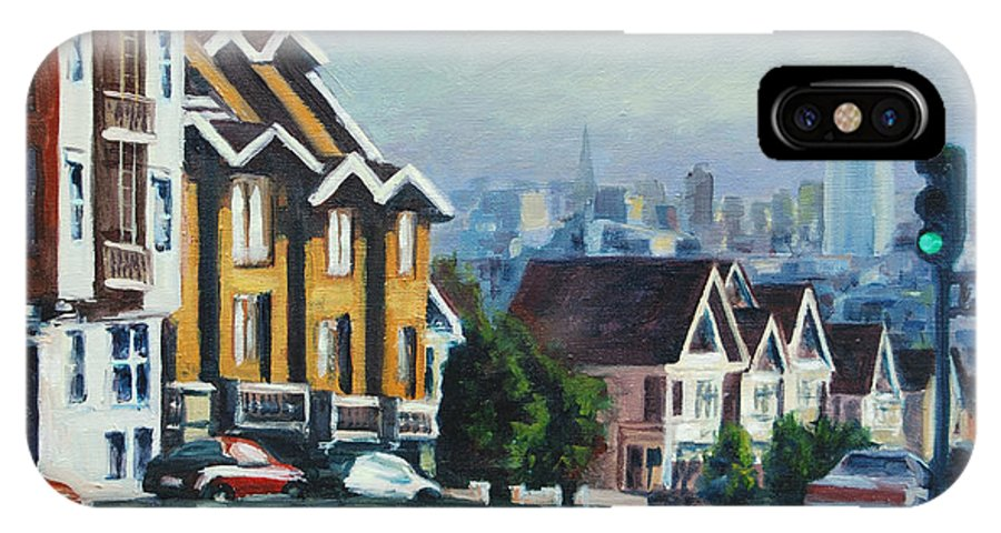 Cityscape IPhone Case featuring the painting Bush Street by Rick Nederlof