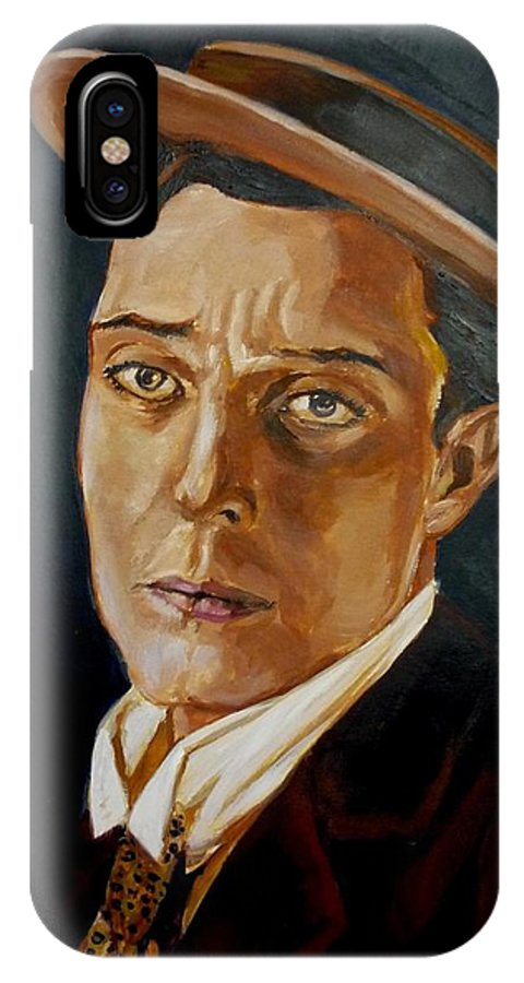 Comedy IPhone Case featuring the painting Buster Keaton Tribute by Bryan Bustard