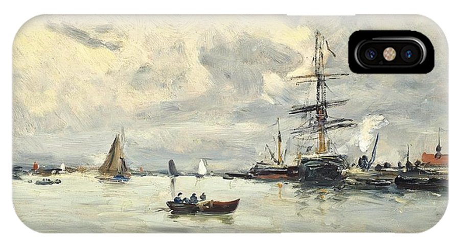 Charles Fran�ois P�crus (limoges 1826-1907 Paris)  Bustling Activity In A Normandy Port IPhone X Case featuring the painting Bustling Activity In A Normandy Port by MotionAge Designs