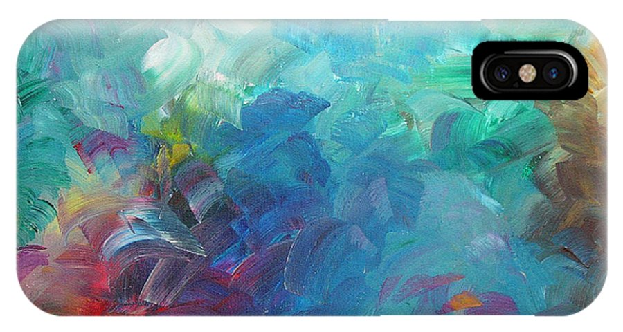 Abstract IPhone X Case featuring the painting Busy Day by Peggy King