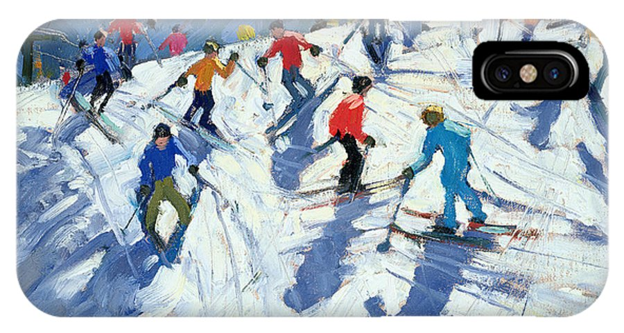 Skiers IPhone X Case featuring the painting Busy Ski Slope by Andrew Macara
