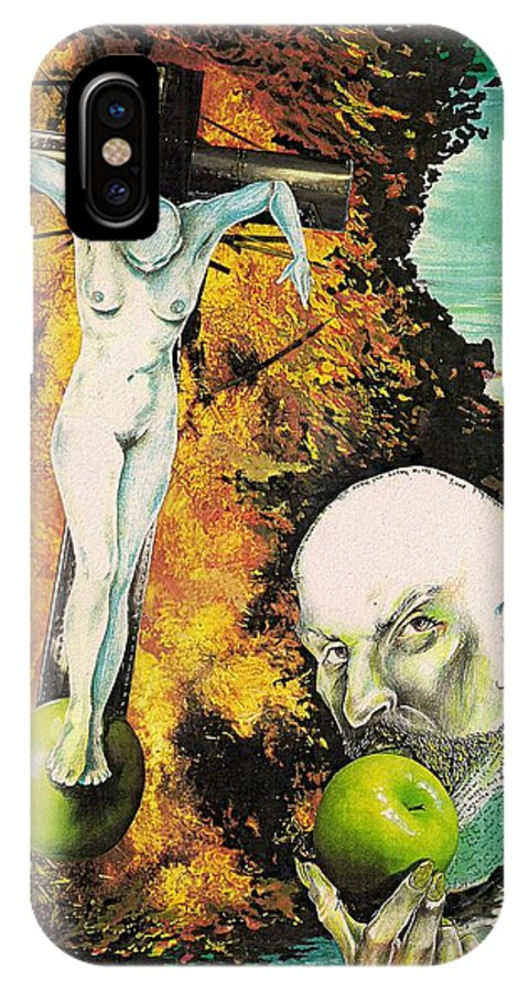 Lust Temptation Crucifix Hell Inferno Heaven Water Woman Sex Lust Apple Fire IPhone X Case featuring the mixed media But For Lust... by Veronica Jackson