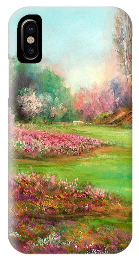 Garden IPhone X Case featuring the painting Butchart Garden by Sally Seago
