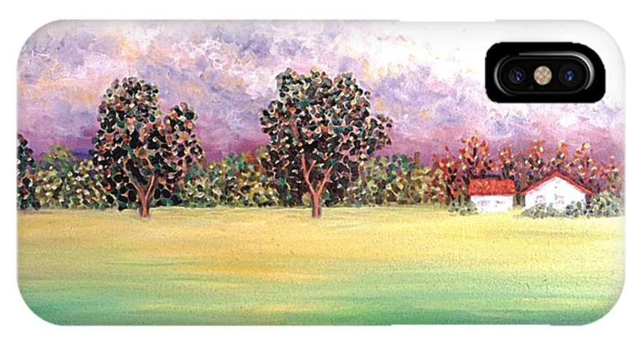 Landscape IPhone X Case featuring the painting Butterfield Meadows Three by Linda Mears