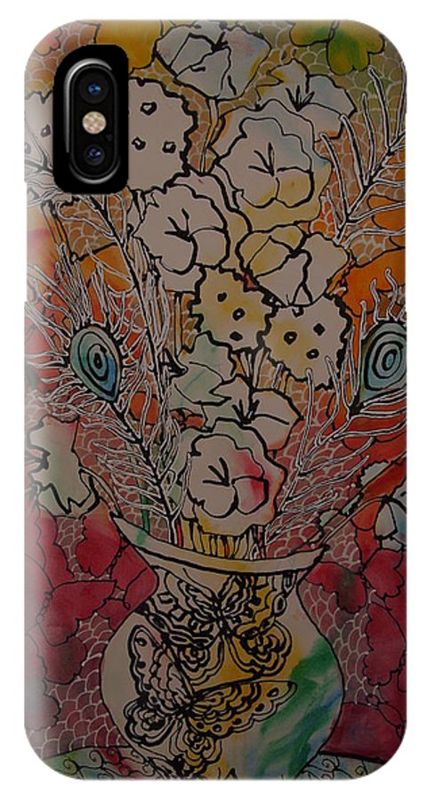 Flowers IPhone X Case featuring the painting Butterflies And Flower by Crystal N Puckett