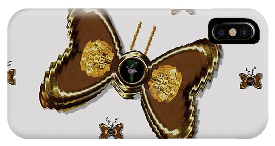Gold IPhone X Case featuring the mixed media Butterflies For The Worlds Future by Pepita Selles