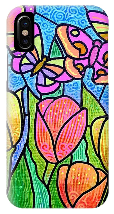 Butterflies IPhone X Case featuring the painting Butterflies In The Tulip Garden by Jim Harris