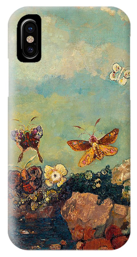 19th Century French Painters IPhone X Case featuring the painting Butterflies by Odilon Redon