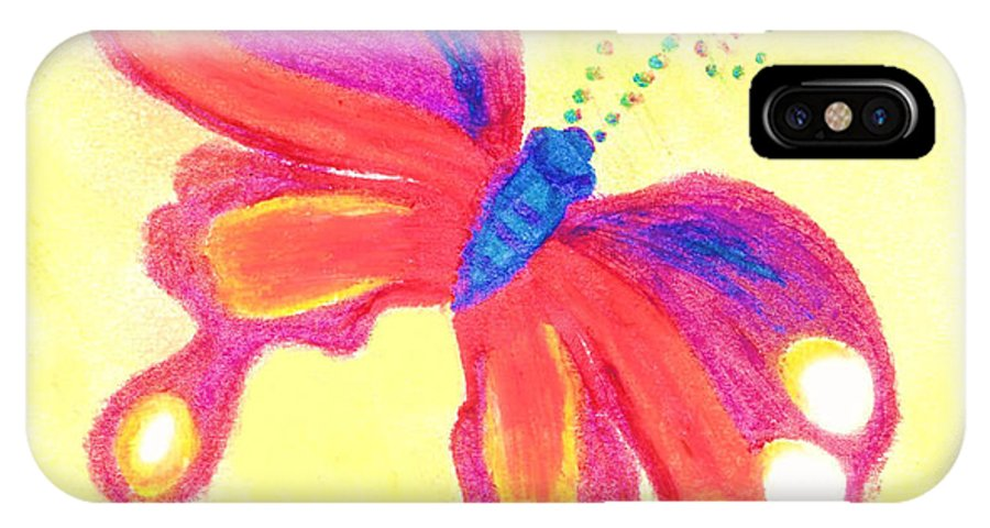Single Butterly IPhone Case featuring the pastel Butterfly by Chandelle Hazen
